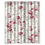 "CozyBath Floral Print Waterproof Polyester Fabric 60""(w) x 72""(h) Shower Curtain and Hooks"