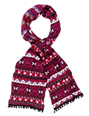 M&S Collection Folk Fair Isle Scarf with Angora