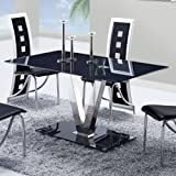 Global Furniture USA D551 cuisine Table utilizing Black/Stainless metal Legs