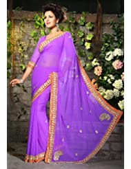 Utsav Fashion Women'sLight Purple Faux Georgette Saree with Blouse