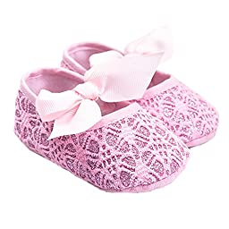 LINKEY Baby Gril\'s Soft Sole Anti Slip Princess Mary Jane With Ribbon Bowknot Jacquard Prewalker Flat Shoes Pink Size L