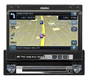 "Clarion NZ500 7"" In-Dash Single-Din Touchscreen DVD/CD/MP3/USB Receiver, Built-in Navigation and Bluetooth"