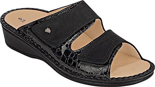 Finn Comfort Womens 2519 Jamaica Frog Buggy Black Leather Sandals 39 EU