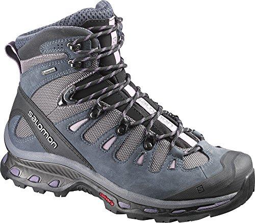 Salomon Women's Quest 4D 2 GTX Hiking Boots Crocus Purple / Grey Denim / Artist Grey-X 8 & Collapsing Waterbottle Bundle