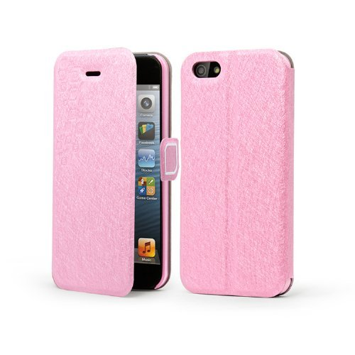 Meaci® Iphone 5 5S (Not 5C) Folio Case With Kickstand Pu Leather And Microfiber Material Cover With Magnetic Buckle (Light Pink)