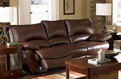 Clifford Brown Leather Double Reclining Sofa by Coaster - Warm Brown Leather Match
