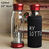 1PC Green Tea Bottle House of Quirk water cum Green tea Glass bottle with a bottom infuser cum filter- TEA - Red 1PC