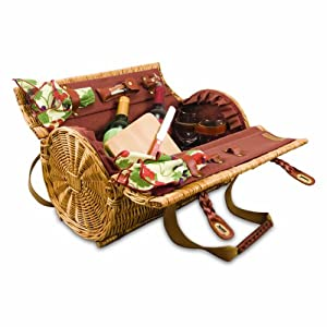 Picnic Time Verona Insulated Wine Basket with Wine/Cheese Service for Two, Red Clay