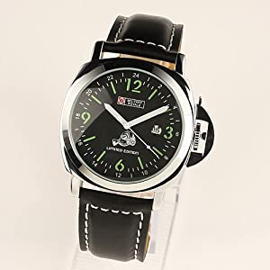 """Limited Edition"" Military Royale Swiss Design Mens Black Leather Army Watch MR041"