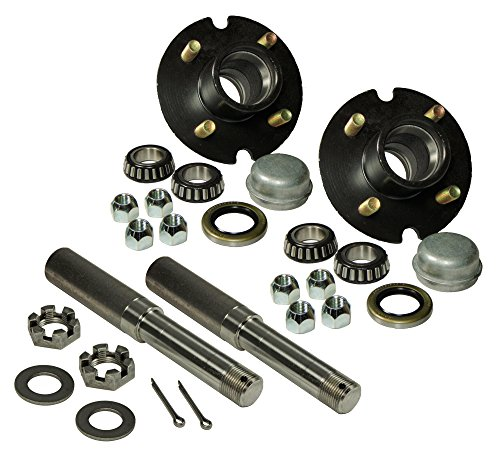 Pair of 4-Bolt On 4 Inch Hub Assembly - Includes (2) 1 Inch Straight Spindles & Bearings (Trailer Axel compare prices)