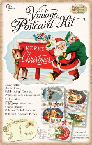 Crafty Secrets Heartwarming Vintage Postcard Kit, Christmas