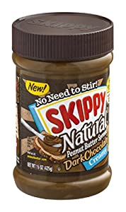 Skippy Natural Peanut Butter Spread with Dark Chocolate 15 OZ (Pack of 12)