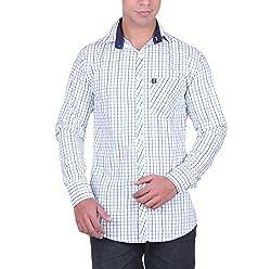 Cotblend Men's Casual Shirt (CB-80CTN-Green-L, Multi-Coloured, L)