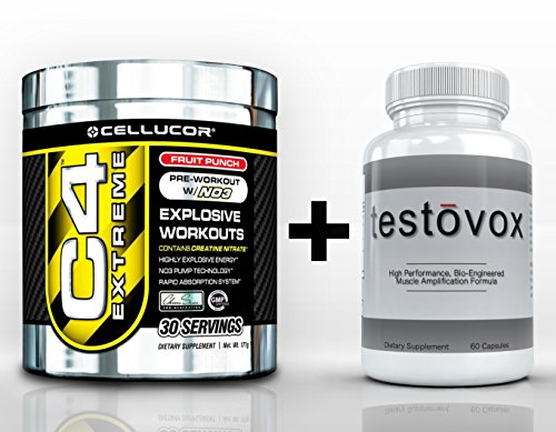 Cellucor C4 Extreme Pre-Workout (30 Servings) & Testovox (60 Capsules) - High Performance Muscle Building Combo. Professional Strength Bodybuilding Supplement Stack (Fruit Punch)