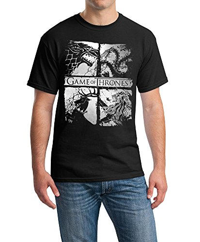 Game Of Thrones Four Houses  Mens T Shirt Black