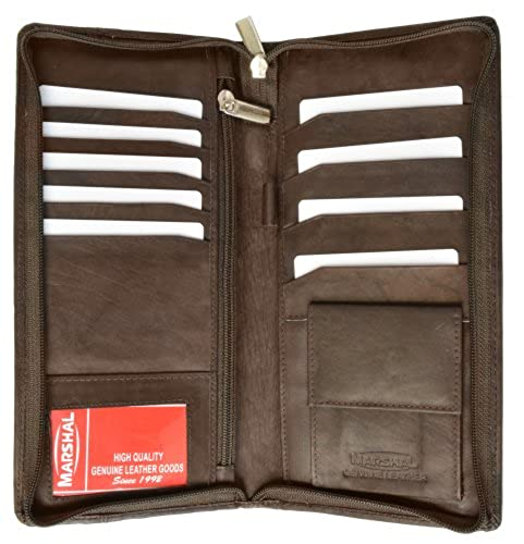 10. Zip Around Leather Travel Wallet with Passport and Boarding pass Holder by Marshal