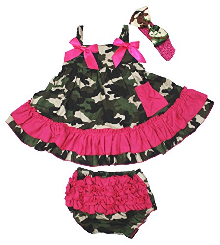 Petitebella Hot Pink Camouflage Swing Top Bloomer Set Baby Girl Clothing Nb-24m (1-2year)