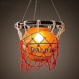 Chambre LED Lustres Cartoon Basketball Éclairage du Nord de l'Europe Rétro Creative personnalité Restaurant Bar Stade Magasin américain Sports Thèmes Art Décoration Basketball Chandelier enfants...