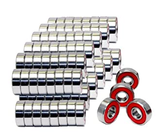 608-2RS Skateboard Bearing, Red, 8x22x7, Sealed, (Pack of 100)
