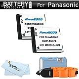 2 Pack Battery Kit For Panasonic Lumix DMC-TS25, DMC-TS20, DMC-TS30, DMC-TS30K WaterProof Digital Camera Includes 2 Extended Replacement (900Mah) DMW-BCK7 Batteries + Floating Strap + More