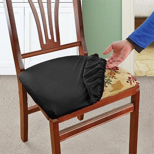 Black Stretch N Fit Chair Fabric Renewal Cover New
