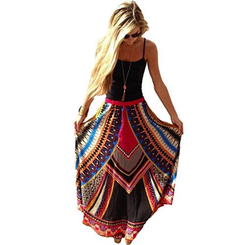 Sandistore Women Vintage Print Bohemian Maxi Long Waist Skirts (M) (Sexy Long Skirts)