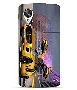 Snazzy Car Printed Multicolor Hard Back Cover For LG Google Nexus 5