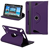 360° New TAN Universal Leather Stand Case Cover For ALL 7 Inch Fusion 5 Tablet PC - Plain Purple ( Designer - Folio - Colourful )