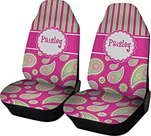 pink green paisley and stripes custom car seat covers set of two automotive. Black Bedroom Furniture Sets. Home Design Ideas