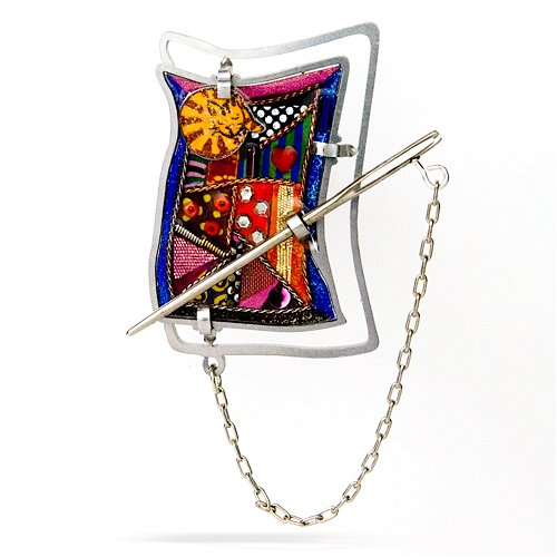 Cat and Crazy Quilt Pin from the Artazia Collection #252CT GP