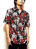 Clack シャツ 半袖 スカル & ローズ 総柄 ロック テイスト ウエスタンシャツ メンズ ブラック L 【正規品】