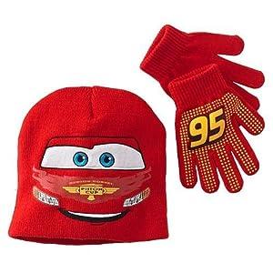 Disney Pixar Cars 2 Pc Childrens Hat & Gloves Set - Red