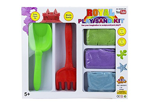 Royal Play Sand Kit with Colorful Neon Kinetic Sand for Sculpting, 3 Assorted Colors, Small Shovel and Little Rakes - 1