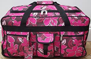 24 Pour Moi Lightweight Floral Wheeled Holdall Trolley Bag Case Pink