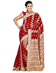 Designer Alluring Red Colored Embroidered Faux Georgette Saree By Triveni