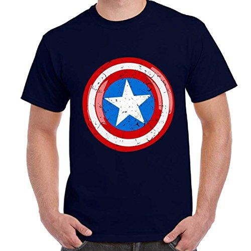 T-Shirt Scura Maglia Maniche Corte Supereroi Marvel Stampa Scudo Capitan America, Colore: Navy, Taglia: XL