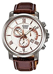 Casio Men's BEM-507L-7AV Beside Leather Band Analog Quartz Chronograph Watch