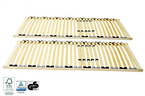 2 x Stabiler 7-Zonen Lattenrost 100 x 200 cm, starr, Holz FSC®-Mix günstig bestellen