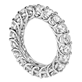 14k White Gold Round Diamond Braided Prongs Eternity Wedding Ring (4.00-4.50 CT TDW)