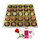 Valentine Chocholik's Belgium Chocolates - Exotic Truffle Gift Box With Love Card And Rose