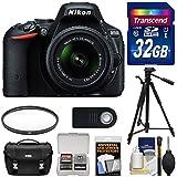 Nikon D5500 Wi-Fi Digital SLR Camera & 18-55mm G VR DX II AF-S Zoom Lens (Black) with 32GB Card + Case + Tripod + Filter + Accessory Kit