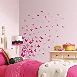 RoomMates RMK2713SCS Pink Flutter Butterflies Peel and Stick Wall Decals