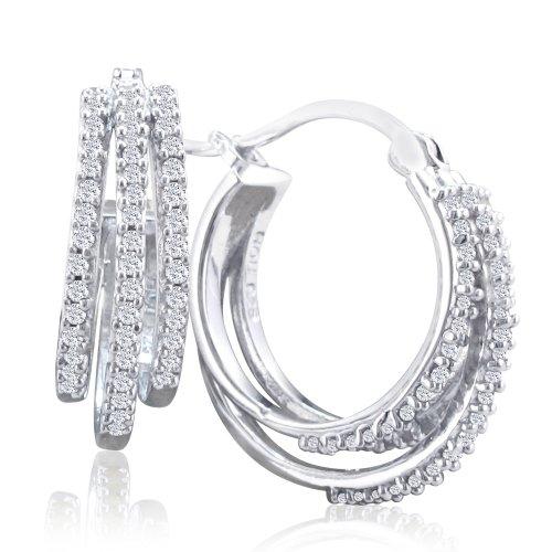 Diamond Hoop Earrings Set In Sterling Silver (1/2Ct Tw)