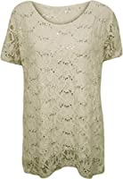 Fashion 4 Less New Plus Size Womens Lace Sequin Lined Ladies Sleeve Party Crochet Top 12 - 26