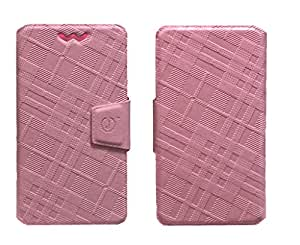 J Cover Nubuck Series Leather Pouch Flip Case With Silicon Holder For Lenovo A3900 Pink