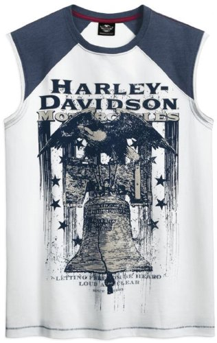 Harley-Davidson® Men's Independnece Collection White Sleeveless T-Shirt. All Cotton. Front Graphics Tee. 96424-12VM