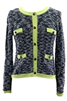 Milly Contrast Trim Cardigan in Navy