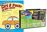 Art Set for Boys and Girls and Dover How to Draw - Easy, Clear Steps for 28 Different Vehicles with Practice Pages - Young Artists can Create a Submarine, Sailboat, Train, Fire Engine, Dump Truck..