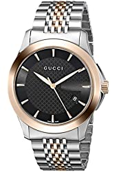 Gucci Men's YA126410 Gucci Timeless Steel and Rose-Tone PVD Black Dial Watch