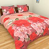 ITrend India 200 CT Polycotton Double Bedsheet With 2 Pillow Covers (Floral, 225 Cm X 225 Cm X 1 Cm, Beige)